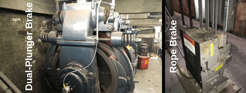 Elevator Dual-Plunger and Rope Brake